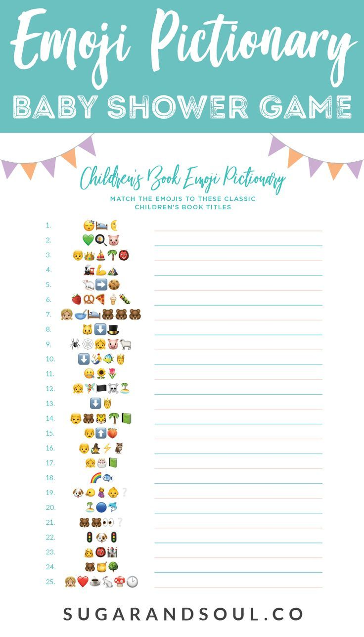This FREE Emoji Pictionary Baby Shower Game Printable uses emoji images to  guess the name of each book! It's a fun and new game idea everyone will  love ...