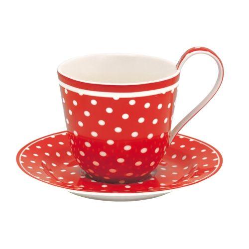 Kávés csésze alátéttel - piros - fehér pöttyös - Bögrék / Csészék - Édes Álmok Webáruház