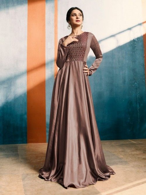 eefeecd0942 Alluring the bepannah actress jennifer winget style brown silk and satin  gown style suit embellished with all over detailed with resham embroidery  and hand ...