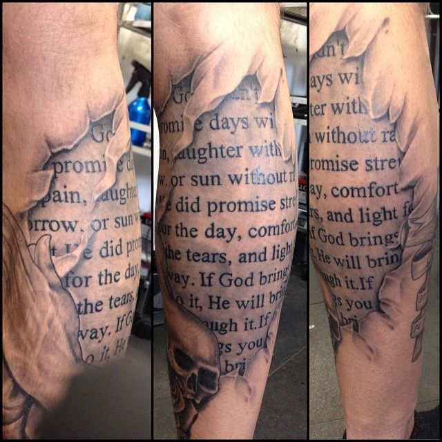 Ripped skin tattoo bible script tattoo black and grey ...
