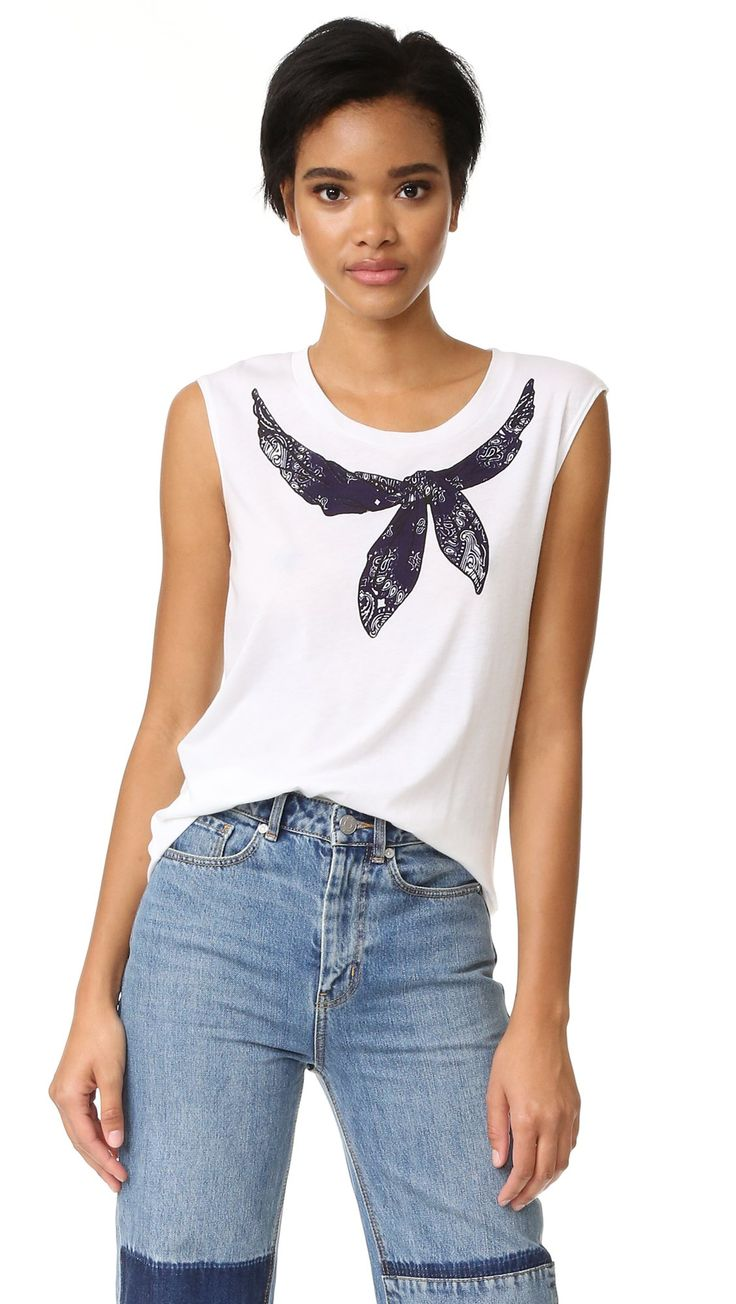 Rebecca Minkoff Women's Bandana Muscle Tee, White, XX-Small. Jersey. 55% cotton/45% modal. Hand wash. Width 26.75in / 68cm, from shoulder.