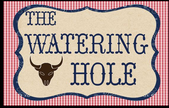 Large Downloadable Watering Hole sign to use at by Waterlemonfarm