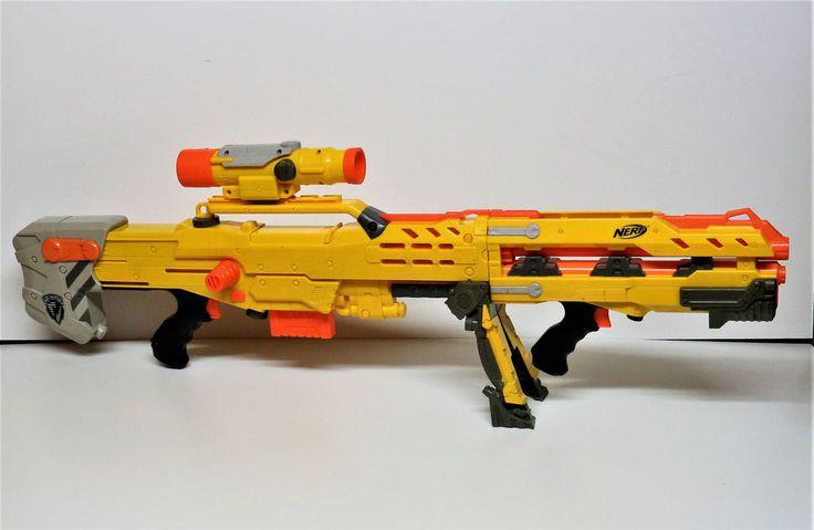 Nerf longshot cs-6 Sniper Rifle & stand Scope sights extender added front  mag  | eBay