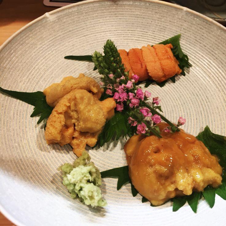 three kinds of urchin 雲丹の三種盛り
