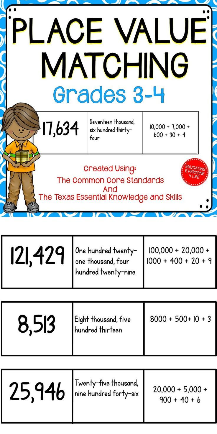 worksheet Place Value Chart 3rd Grade 173 best math place value images on pinterest games students will have fun with this and engaging matching game for the