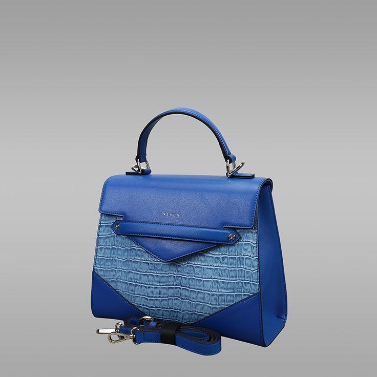 Blue Colour Cross-Sectional Leather Handbag