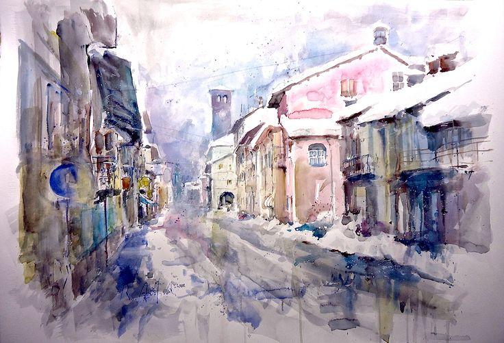 """""""Cherasco: via Cavour sotto la neve"""" Acquerello cm. 56x76"""
