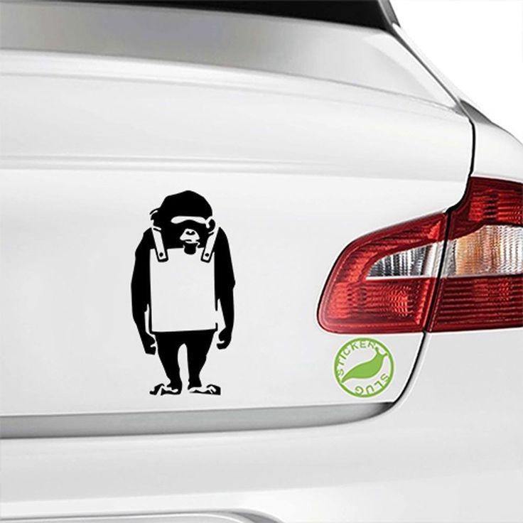 gloss black banksy monkey decal on car