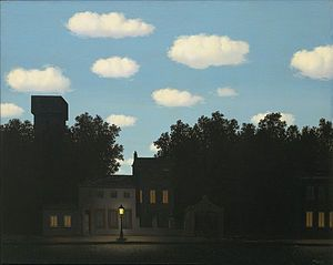 "René Magritte -""The Empire of Light"", c. 1950-1954, Museum of Modern Art, NY.  Wikipedia"