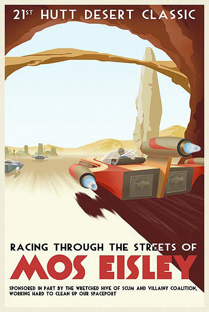 Vintage Style Illustrated Star Wars Travel and Transportation Posters. - if it's hip, it's here