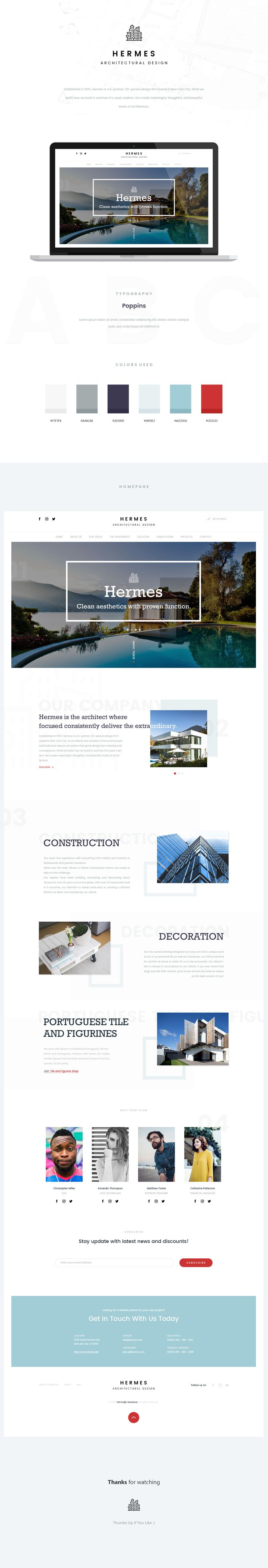 Hermes Architectural Design - Landing page for company, that provides architectural services.