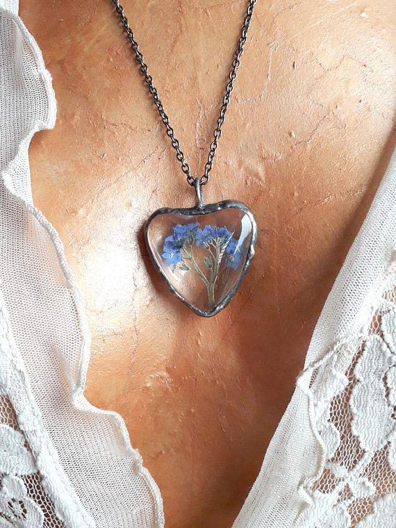 Christmas gift. Forget me not necklace. Blue natural jewelry.