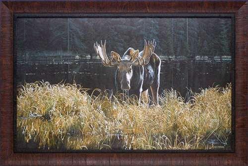 North American Art Autumn Foraging Fine Framed Moose Wildlife Landscape Wholesale Art Print