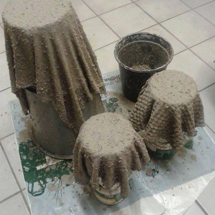 Old Cloth and Concrete Wash  Flower Pots  Hometalk  Concrete planters Concrete pots Cement