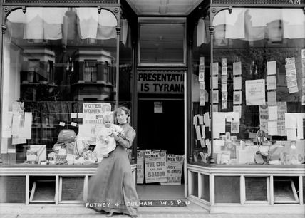 Suffragette W.S.P.U. shop window display