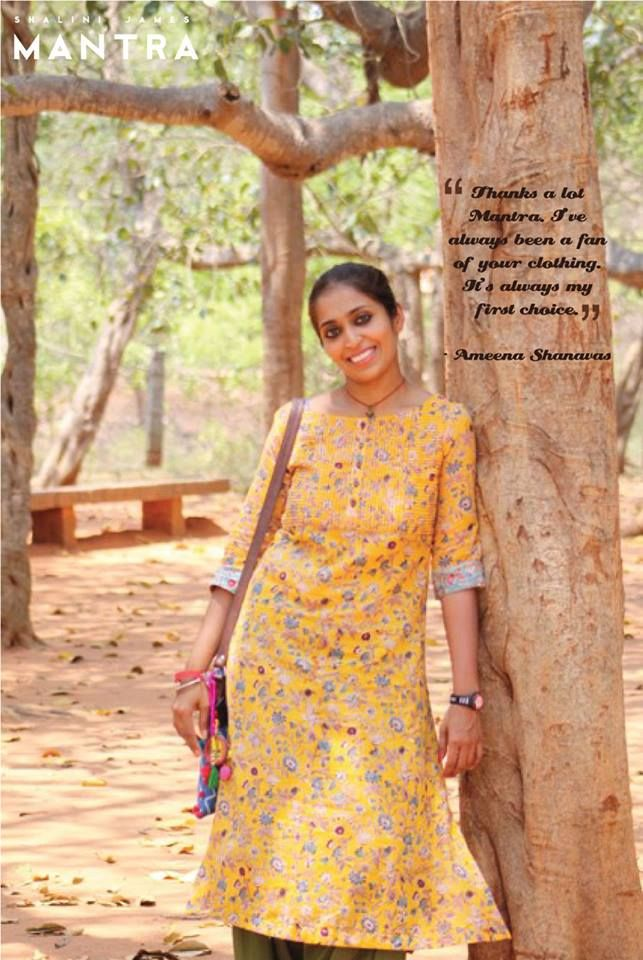 Ameena looks bright and lovely in this summer-friendly floral kurti! Thank you Ameena for your kind words and this beautiful photograph! #MantraFamily #Mantra #ShaliniJamesMantra