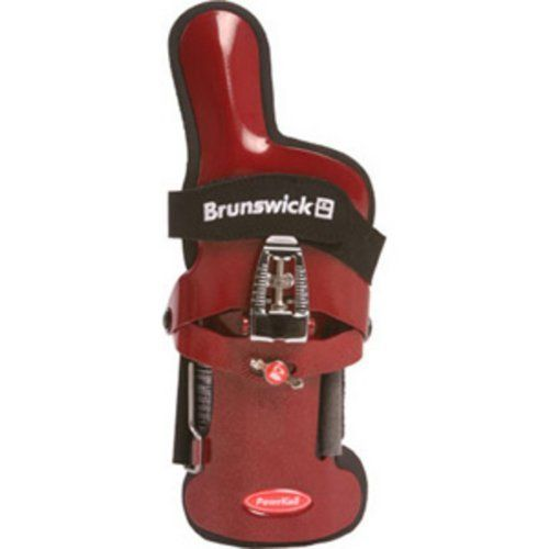 Brunswick Powrkoil XF Wrist Support (Red, Right Hand, Large) by Brunswick. $48.99. Rev up your game with the Brunswick Powerkoil XF wrist positioner. Extended index finger support enhances side roll for improved length and back-end hook angle. Feather-light, durable aluminum construction Lateral adjustments position the hand for changing the forward roll and spin of the bowling ball. Adjusting screw allows fine-tuning of the forward wrist cup positions for rev control.