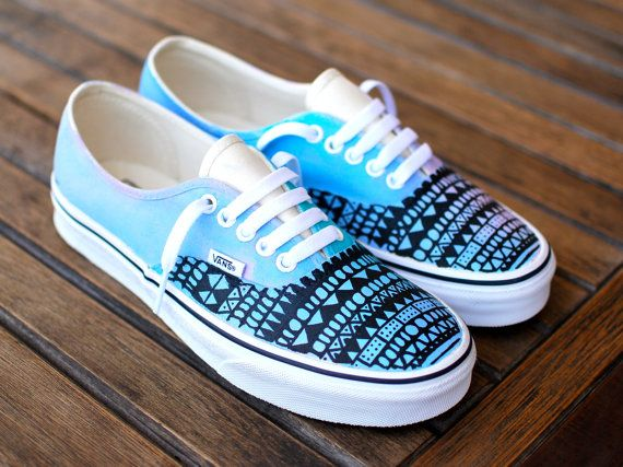 Custom Hand Painted Pastel Tribal Vans Authentic by BStreetShoes, $149.00