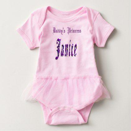 Janice Girls Name Logo Daddys Princess Baby Bodysuit - floral style flower flowers stylish diy personalize