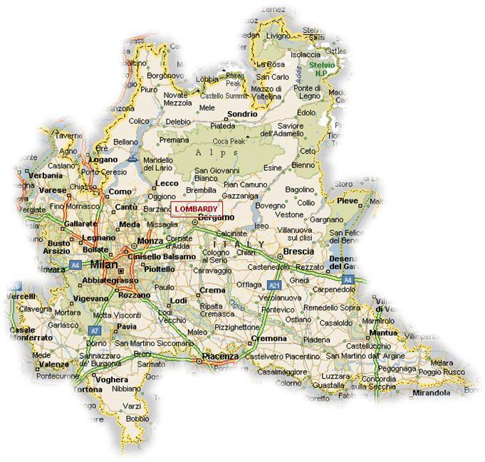 Map of Lombardy   #TuscanyAgriturismoGiratola