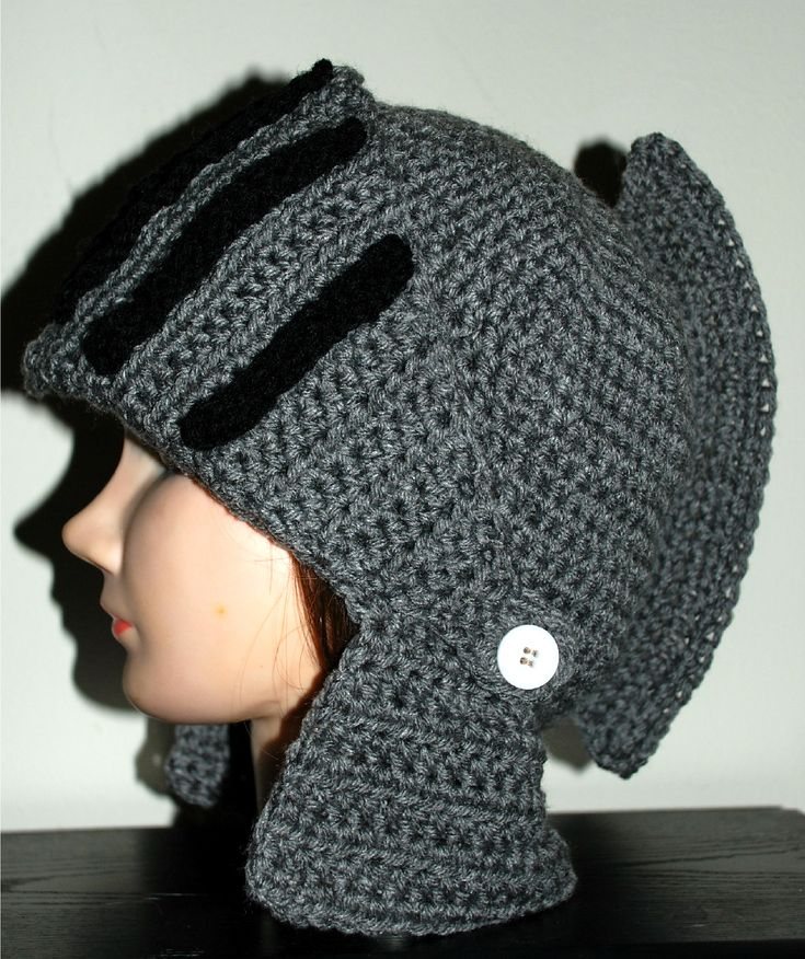 Free Crochet Pattern For Helmet Hat : Ravelry: Mens Knight Helmet Hat pattern by Amy Lehman ...