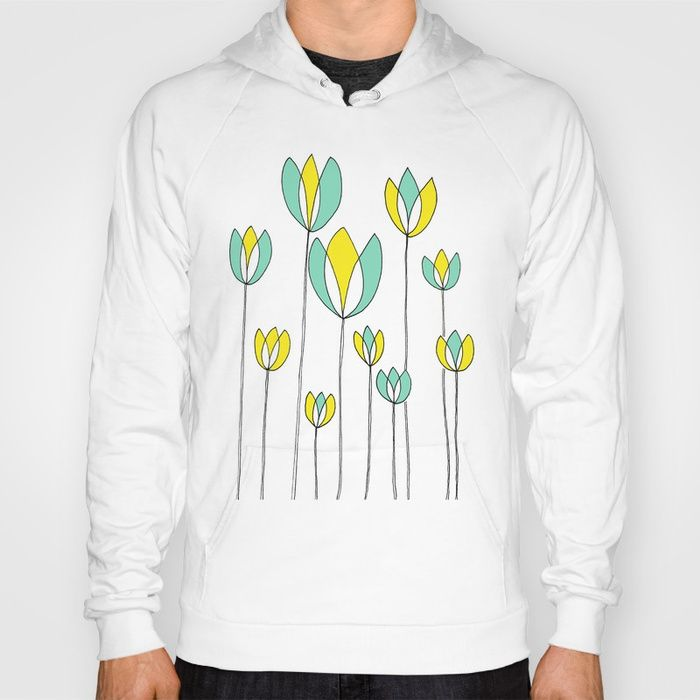 Floral Hoody, Gender Neutral Hoody, Teal and Yellow Flower Design by Emma Freeman Designs and Society6