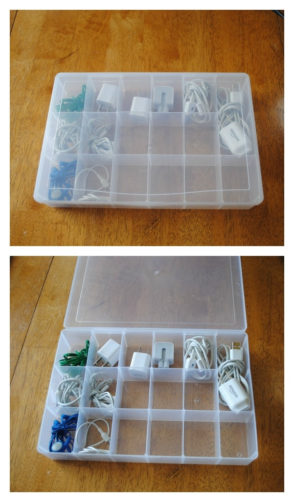 We have tons of chargers and earphones and can never find any of them. When I do find them all.... this craft organizer I got from Walmart today...will keep them all in the same place.  That is if the kids put them back....