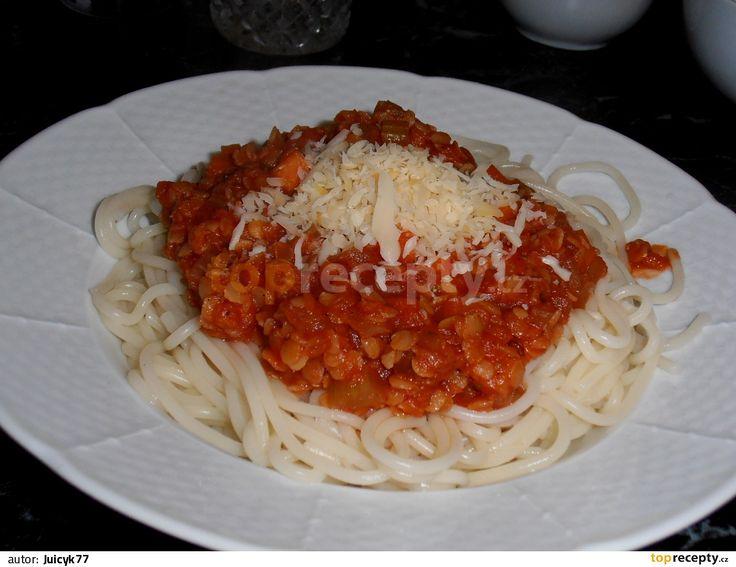 Vege boloňská omáčka z červené čočky.