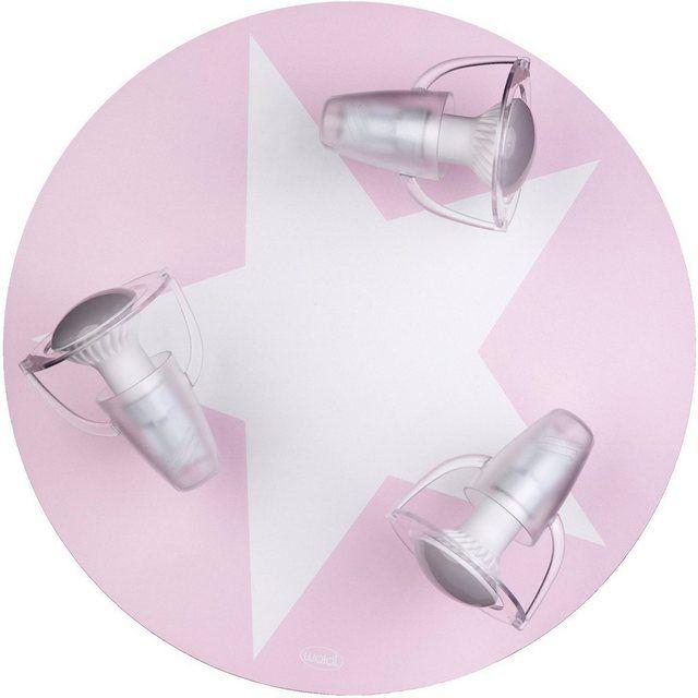 Deckenleuchte rosa mit Stern weiß, 3flg. Sterne