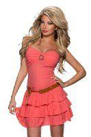 K1029 Fashion4Young Damen ärmelloses Träger Minikleid Spitze Gürtel Party Kleid 4 Farben Gr. 34/36 (34/36, Rosa): Amazon.de: Bekleidung