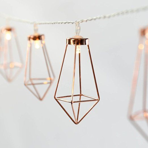 Rosé Gold Metall Laternen Lichterkette, batteriebetrieben, 10 LEDs warmweiß, von Festive Lights