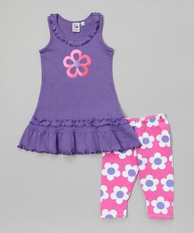 Look what I found on #zulily! Purple Flower Ruffle Dress & Leggings - Infant, Toddler & Girls #zulilyfinds