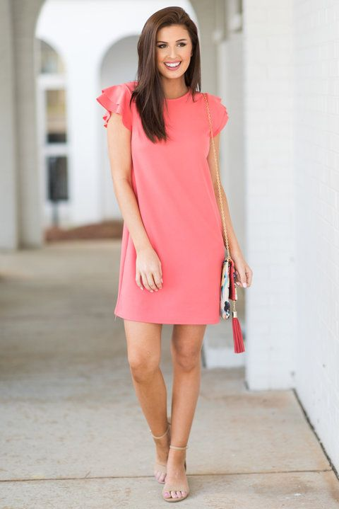 8b88c073310c Beauty abounds with this precious coral dress! Those fluttering sleeves are too  cute and so
