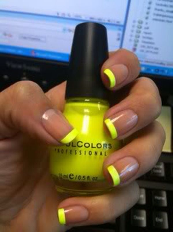 neon tips - just did this...I feel like I could use my fingernails as emergency glowsticks