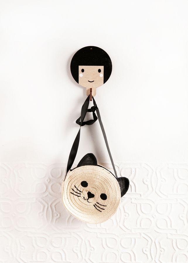 Children's wooden wall hooks - Black haired girl £15.00