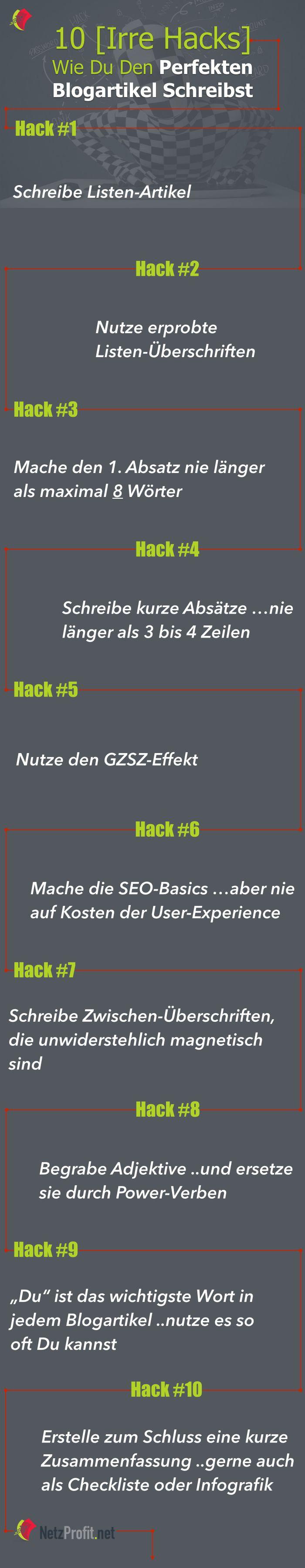 10 irre Hacks wie Du den perfekten Blogartikel schreibst - Infografik