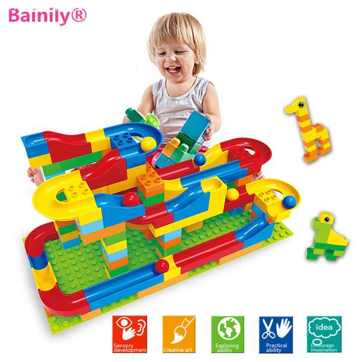 [Bainily]1 Set Run Rolling Ball Rail Building Blocks  Bricks Trajectory Learning Education Toys Compatible With LegoINGly Duploe