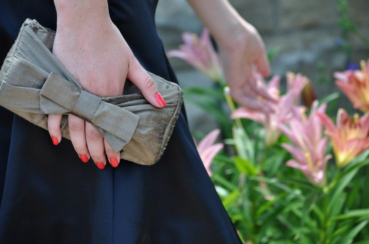 Latte silk clutch The Norma Clutch with bow handle mother