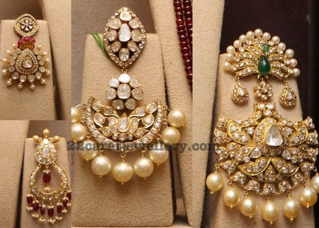 Trendy Kundan Earrings with Pearls - Jewellery Designs
