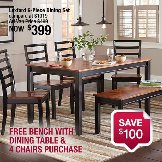 This Lexford Dining Set Includes A Long Rectangular Leg Table, Four Ladder  Back Chairs With Saddle Seat Bottoms And A Bench That Provides Very  Comfortable ...