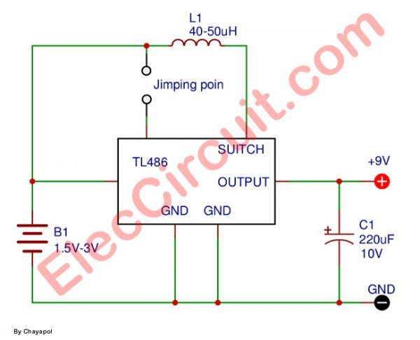 Simple 1 5v To 9v Step Up Dc Converter Circuit Using Tl496 Converter Joule Thief Step Up