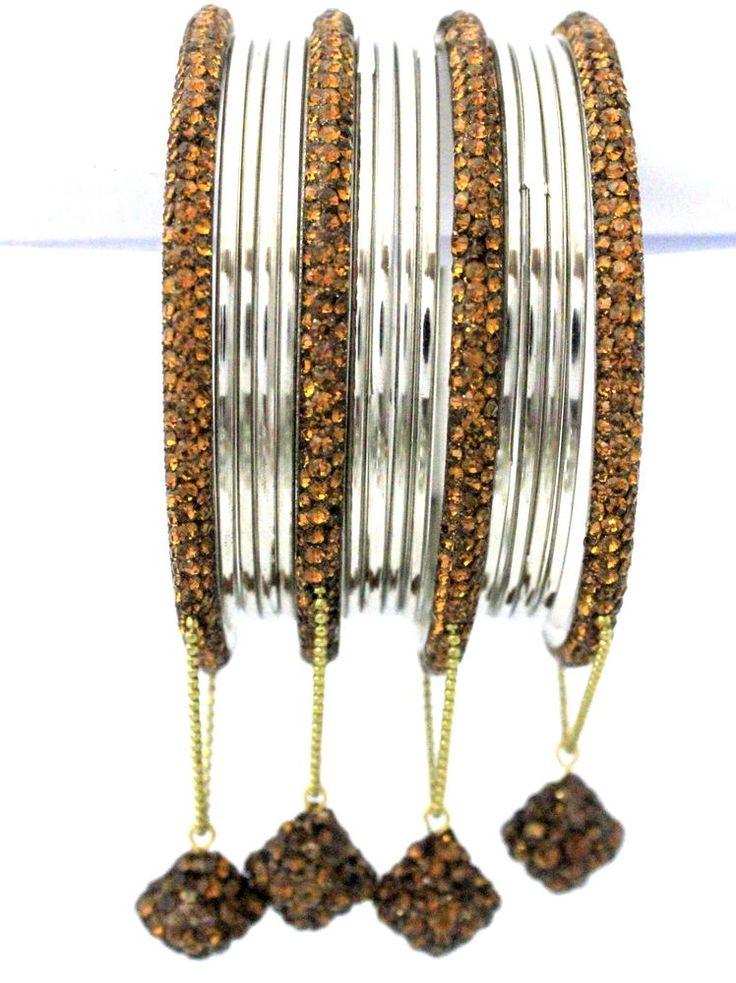 16 Pieces Indian Jewellery Brown White Crystal Metal Bangles Jhumke Bracelets  #mycrystalbanglesdotcom #Bangle