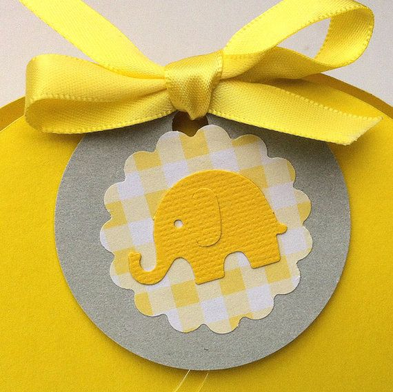 Baby Elephant gift tags. Yellow and gray/grey with gingham pattern. Hand punched. Baby shower, gift tags, new baby, gender reveal, favor tags.