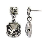 Monet Black Crystal Drop Earrings