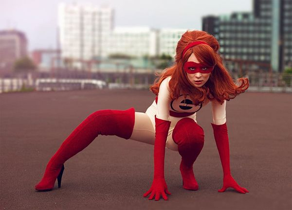 Elastigirl doesn't need a man to save the day. The kickbutt character from Pixar's The Incredibles is super flexible and super awesome. Cosplayer Liv-is-alive made the golden age version of Elastigirl's costume, and it has just the right retro vibe. Some of her pics in the costume are manipulated to show off her superpowers, and the effect looks neat. Plus, she incorporated the proper amount of sparkle into her mask, belt, and gloves.  Photos by Simple Arts.