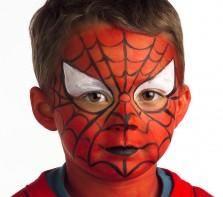 """Pour réaliser ce maquillage """"L'homme araignée"""", il vous faudra :     Eponge     Pinceau moyen     Fards de maquillage sans paraben : Blanc, Noir, Rouge Vif Ce maquillage Spiderman peut aussi être réalisé avec la palette 4 couleurs GRIM'TOUT Super Héros, la palette 9 couleurs GRIM'TOUT Héros ou avec le coffret 6 couleurs Mega Fiesta Box."""
