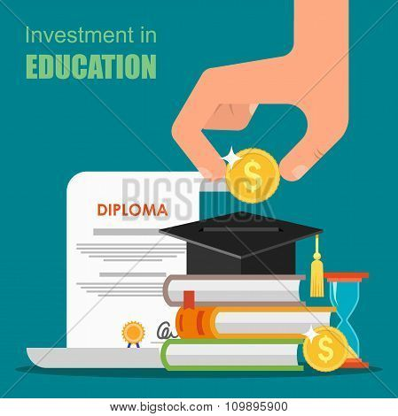 Invest in education concept. Vector illustration flat design. Stack of books, diploma and university poster