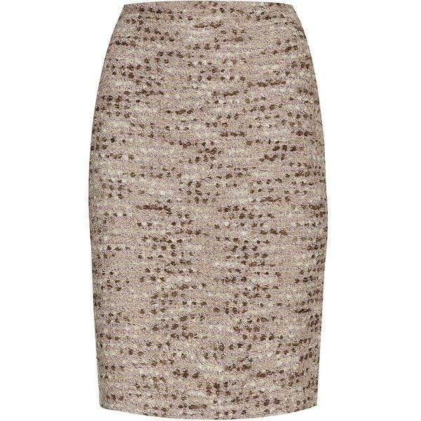 St. John Shimmer Tweed Pencil Skirt (24.135 RUB) ❤ liked on Polyvore featuring skirts, st john skirt, metallic skirt, tweed pencil skirt, brown skirt and brown pencil skirt