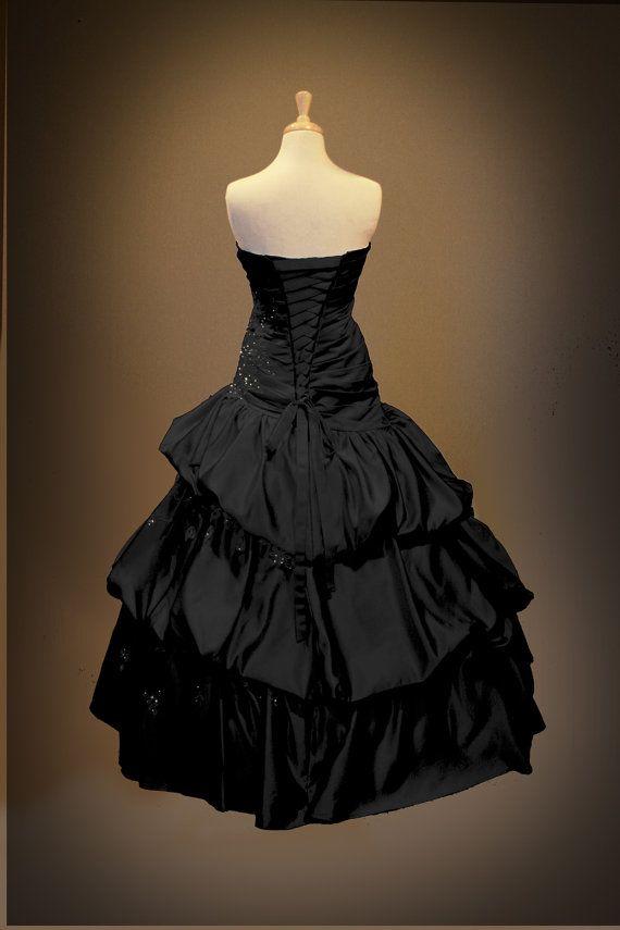 Black Gothic Wedding Dress Ball Gown by GothicWeddingDress on Etsy, $1190.00