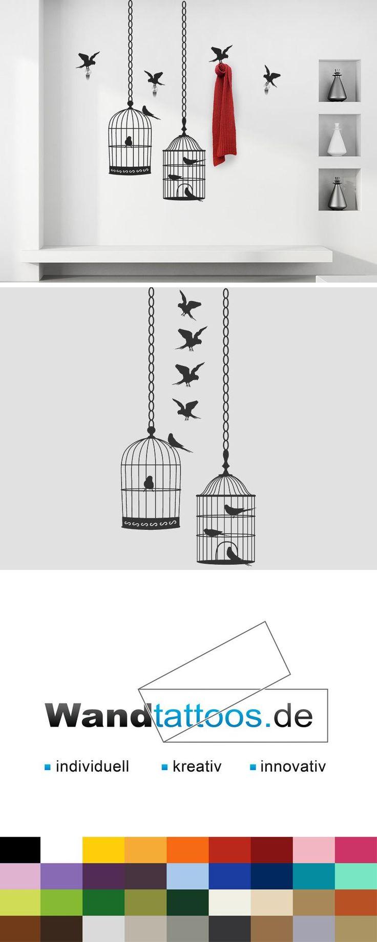 Wandtattoo Garderobe Vogelkäfige als Idee zur individuellen Wandgestaltung. Einfach Lieblingsfarbe und Größe auswählen. Weitere kreative Anregungen von Wandtattoos.de hier entdecken!
